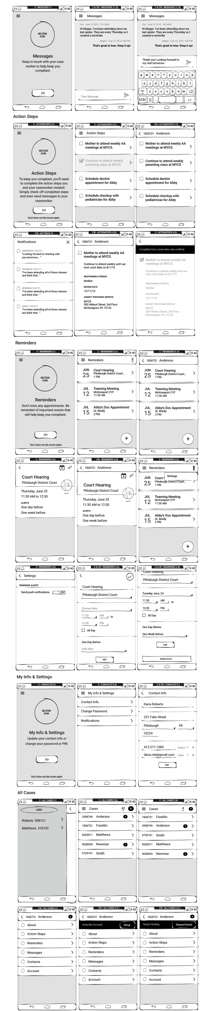 App Wireframes Prototyping